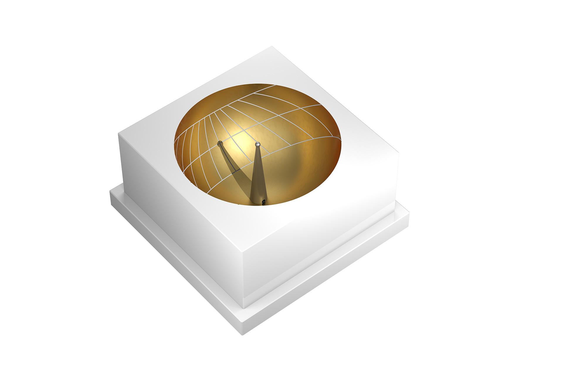 Sonnenuhr Skaphe weiß-gold Shop zeigt die temporalen Stunden an ©Björn Oldsen