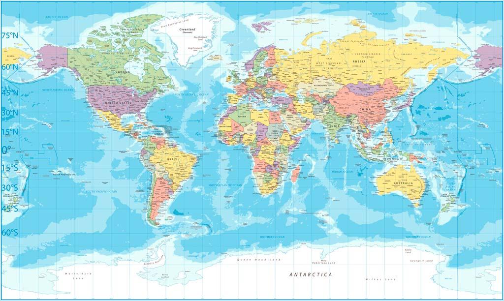 Weltkarte mit Breitengraden